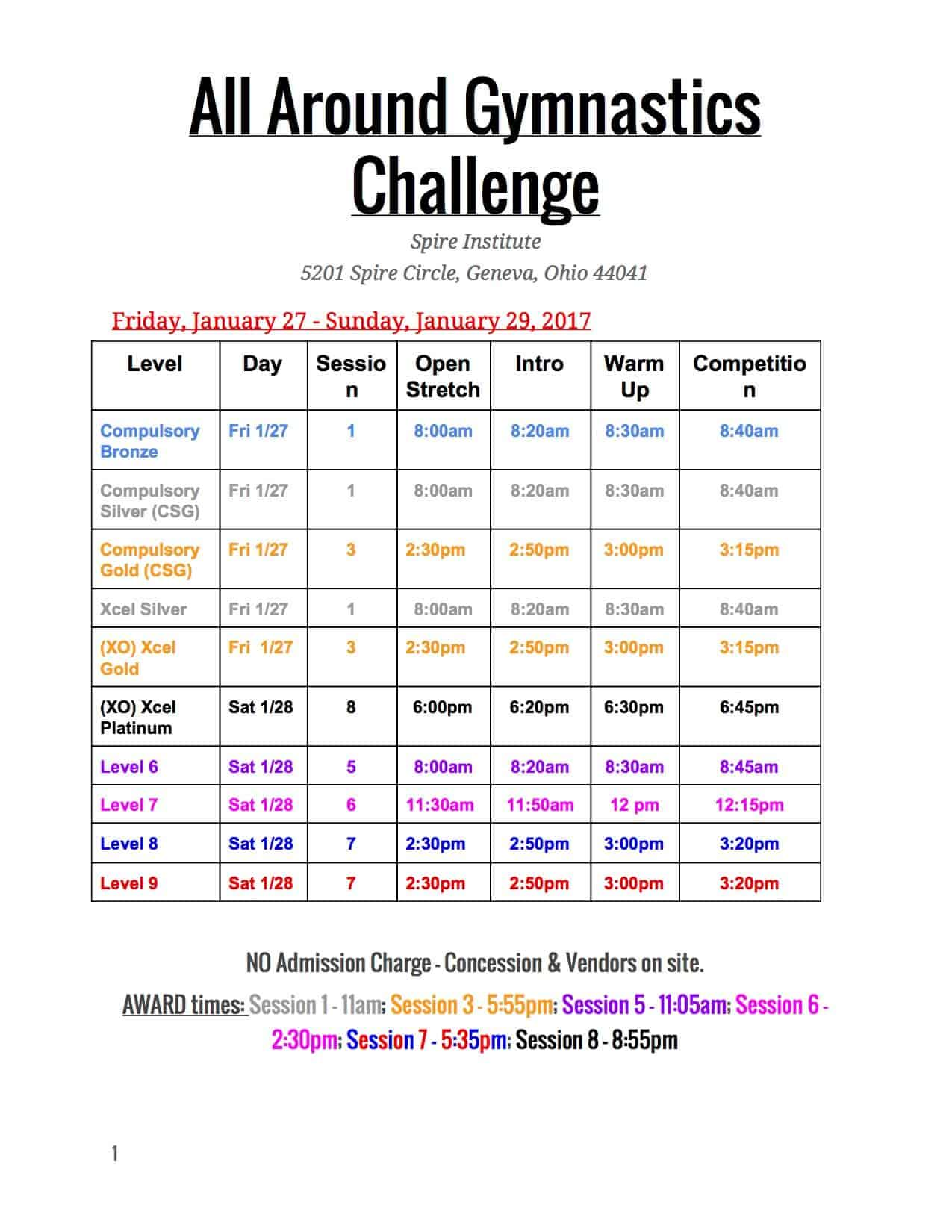 All Around Gymnastics Challenge Meet Schedule