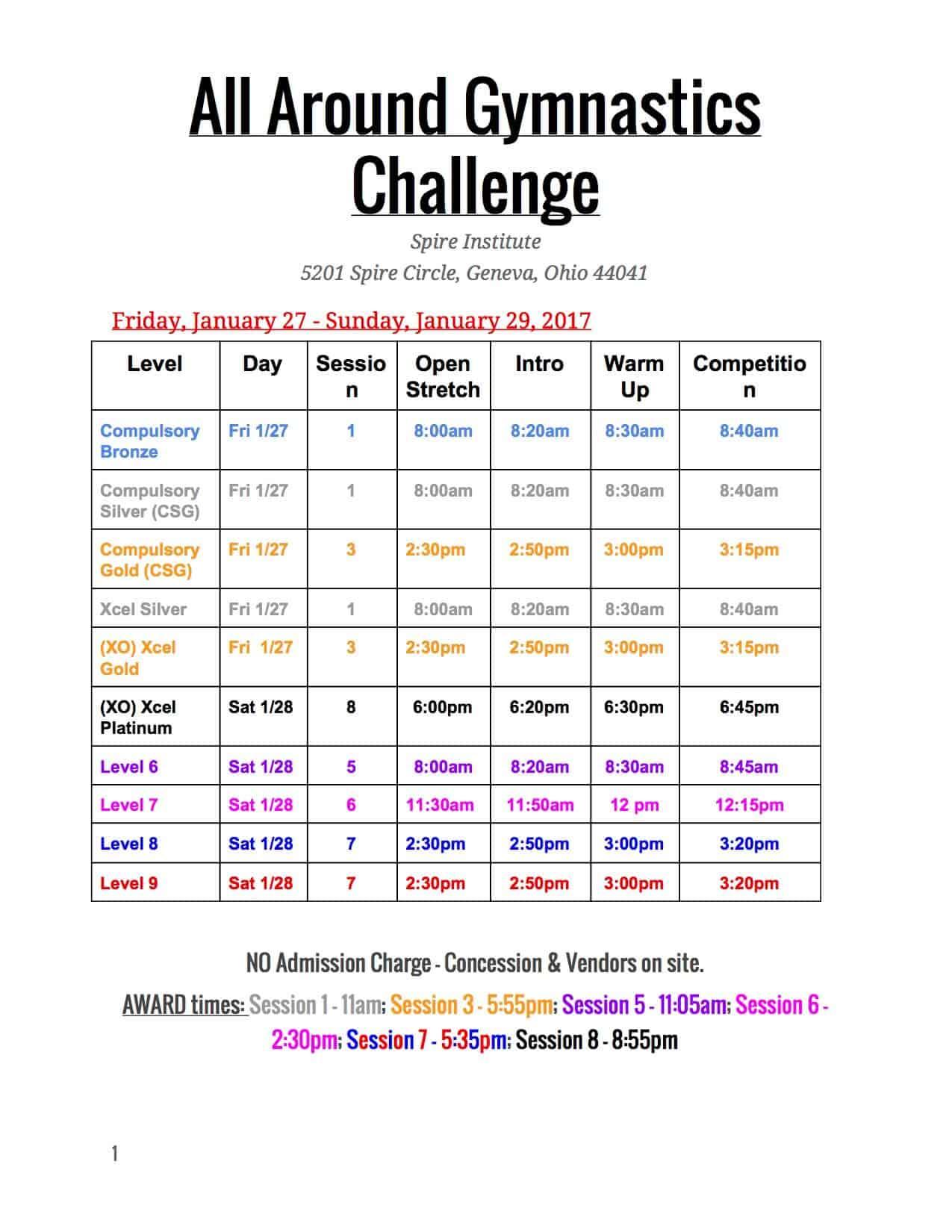 All Around Gymnastics Challenge Meet Schedule