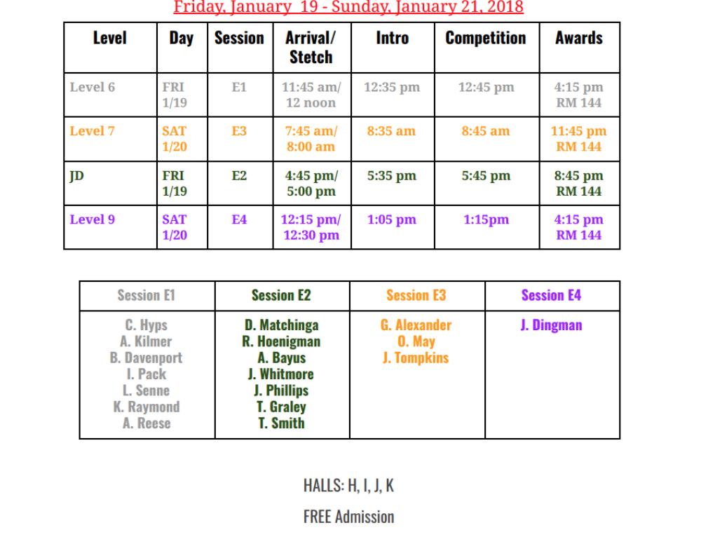 Boys' Team: Circle of Stars Meet Schedule