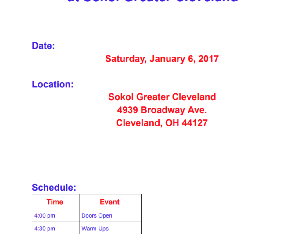 NEOBGL Meet #1 at Sokol Greater Cleveland
