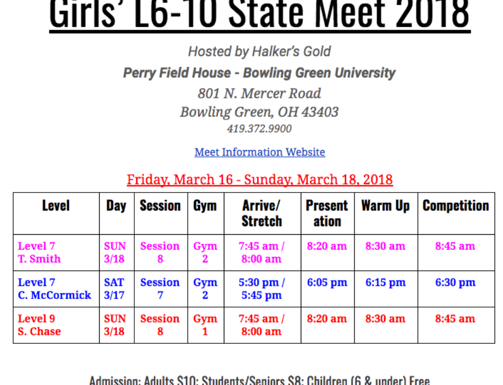 Girls' Team: 2018 Level 6-10 State Meet