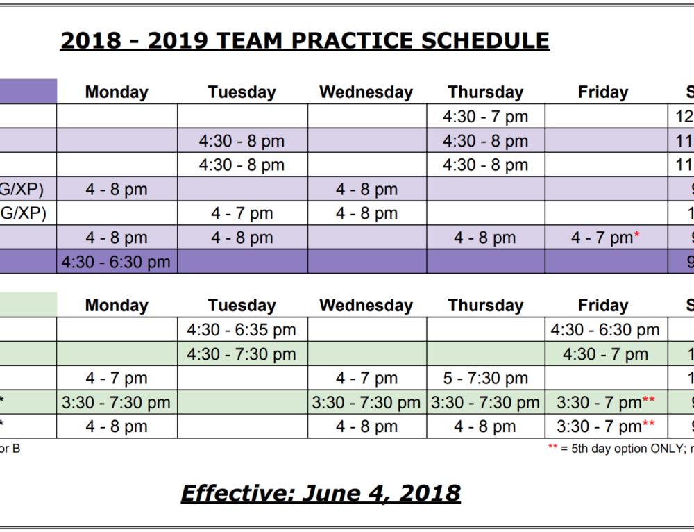 2018-19 Team Practice Schedule