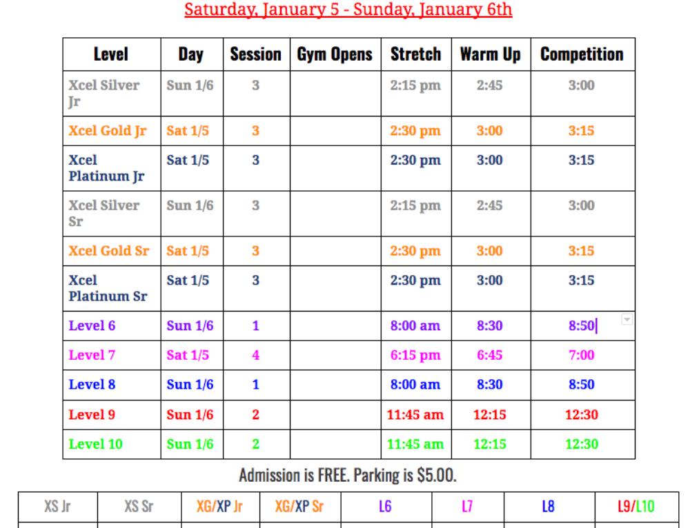 X-Treme Challenge 2019 Meet Schedule