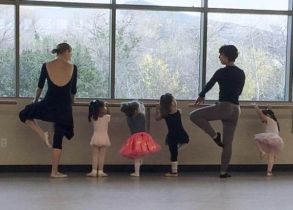 two female instructors teaching ballet lessons to toddlers at the fairmount center for the arts