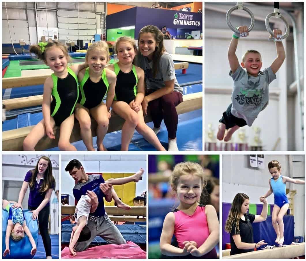 Happy gymnastics students