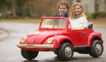 Kids driving Car
